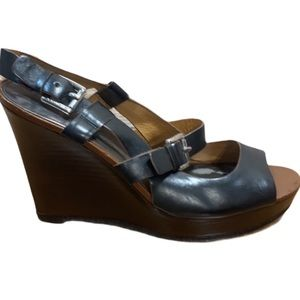 Coach 'Mary Jo' Buckle Black Leather Wedge Size